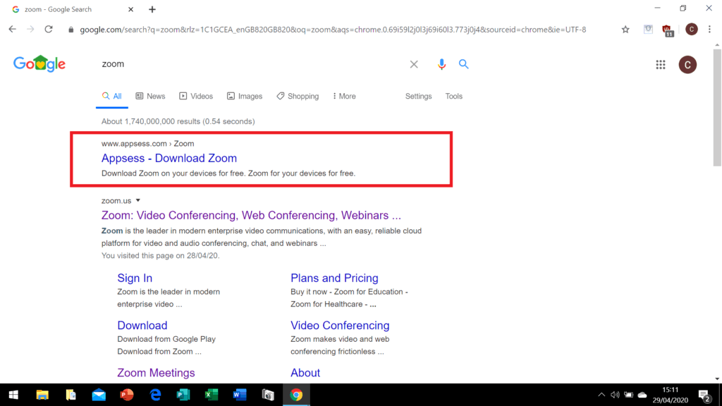 Malicious Zoom link on google search